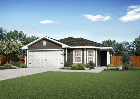 Pecos single-family home rendering with dark brown siding and bright white accent paint, green grass and plants in the yard, and brown picket fence
