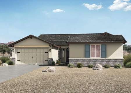 Powell exterior elevation with single floor, desert landscaping, and white carriage style garage door