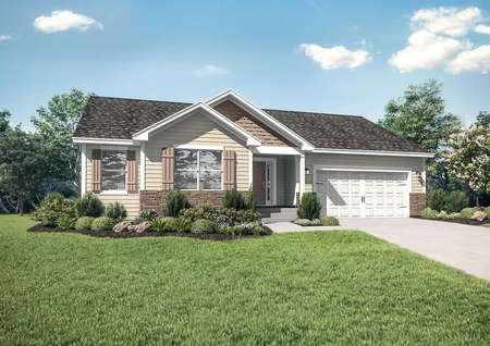 Pennington new single-family home with landscape yard, paved driveway, and white 2 car garage door