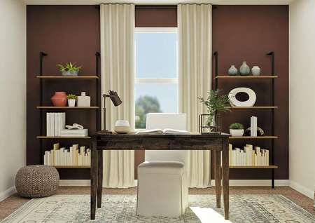 Rendering of secondary bedroom decorated   as an office with wood desk, two wood-and-metal bookshelves and large window