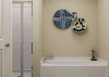 Rendering of master bath showing   stand-alone shower and bathtub with decorative plant