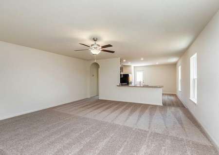 Pecan great room with plush carpet, white on white walls, and ceiling fan