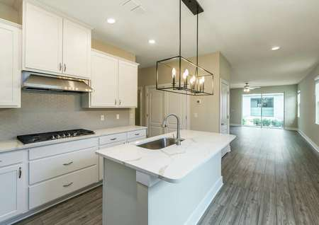 Open-concept layout of entertainment space consisting of a chef-ready kitchen and a large family room.