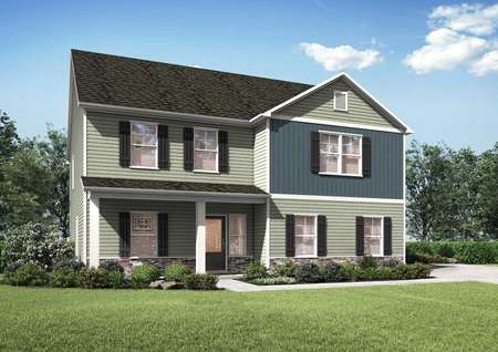 Kiawah floor plan exterior side view renderingsof the home with a two-car garage and a beautifully landscaped front yard.
