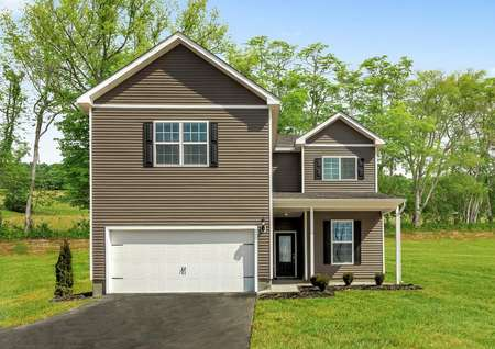 Waverly taupe paint with white trim and dark brown shutters, covered front porch and glass front door, large lot