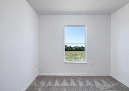 Carpeted bedroom with large window allowing for plenty of natural light.