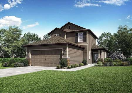 Renderings of the Tomoka floor plan that is painted light brown and has a lush green front grass yard.