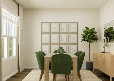 Rendering of the formal dining space,   which has a large window and wood-look flooring. The room is furnished with a   rectangular table, six green dining chairs, buffet, potted plant, gallery   wall and a mirror.