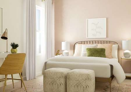 Rendering of a secondary bedroom with a   window with white curtains and small desk on the right, and a gold rod iron   bed with gold and marble tables against a light pink accent wall.