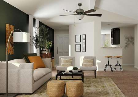 Rendering of the view from the living   room to the front door and kitchen, showing vaulted ceiling and ceiling   fan.
