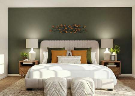 Rendering of spacious master bedroom with   dark green accent wall and carpet flooring. Decorated with large cream bed   and two wooden nightstands.