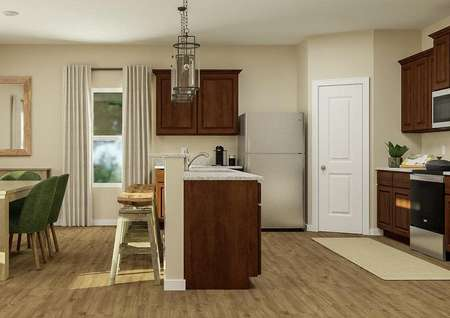 Rendering with the   dining area on the left and kitchen with brown cabinetry on the right.