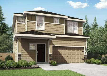 Cypress finished home rendering with landscaped yard, white trim, and two living levels
