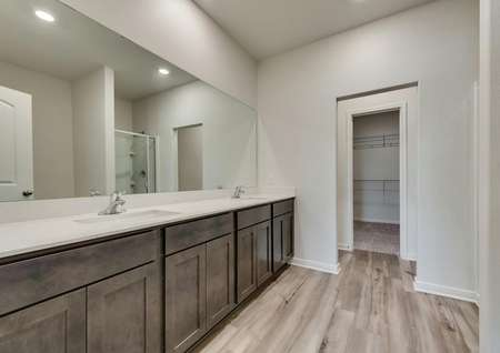 The master bath has a dual-sink vanity and brown cabinetry.