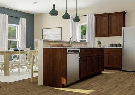 Rendering of kitchen breakfast bar with   brown cabinets with dining table and blue accent wall visible in background