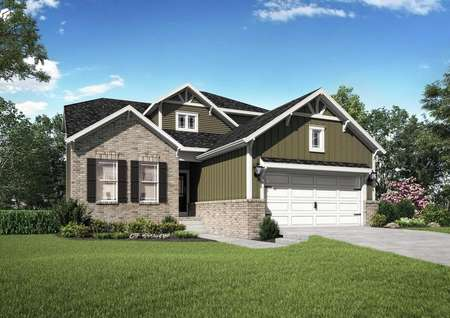 The Mid Atlantic Roanoke rendering of a single story home with brick accents.