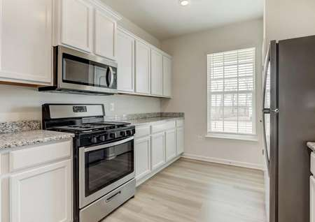 White kitchen cabinets, stainless gas range, built-in microwave, stainless refrigerator window with blinds