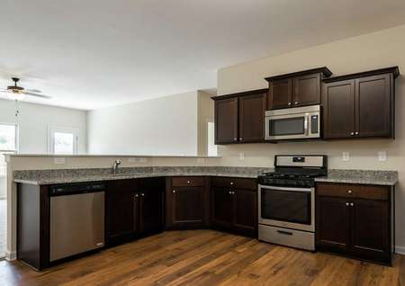 Dockery kitchen with granite countertops and stainless appliances.