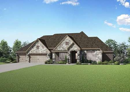 Exterior single-story, brick Bradley model plan with front landscaping, a shingle roof, and a three-car garage