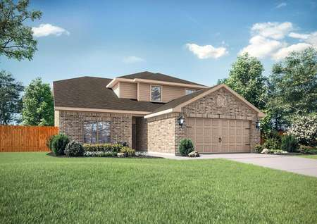 Cypress new home rendering with brick finish, two-car multi-panel garage, and lush grass