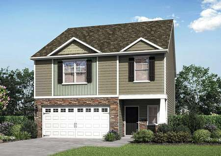 Fripp house floor plan front yard with two stories, brown siding, and landscaping