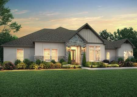 The Stratton plan dusk rendering with stucco and stone accents.