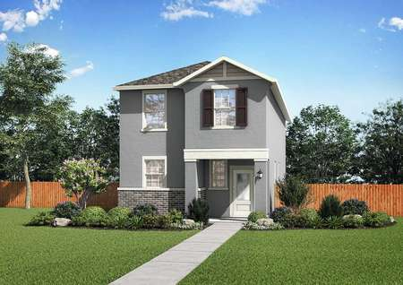 The renderings of the two-story Kennedy floor plan with a beautifully landscaped front yard.