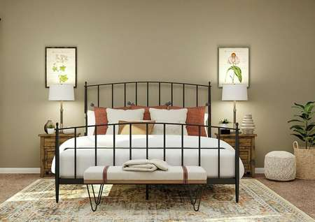 Rendering of the spacious master bedroom   with rod iron bed, wood nightstands, with white armchair and windows visible   on the left