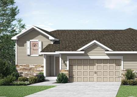 Straight-on view rendering of Benton twinhome with tan siding and water table height cobblestone, split-level home with attached 2-car garage.