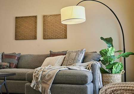 Couch with throw pillows and a blanket draped across it, with a tall, overhead lamp to the right.
