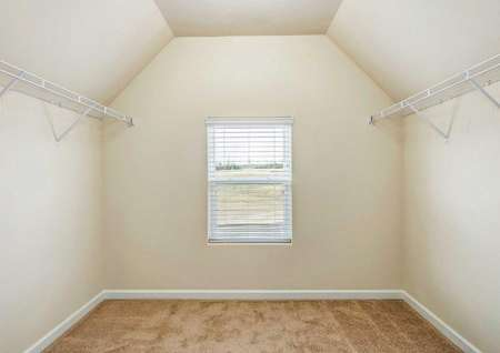 Hartford walk-in closet with vaulted ceilings, brown carpet, and window