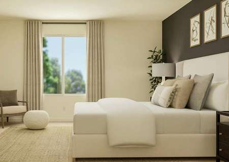 Rendering of the spacious master bedroom   showcasing a large window. The room has a bed and nightstands on one side and   a dresser and armchair on the other.