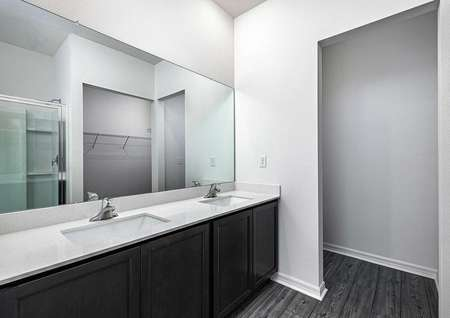 Master bathroom featuring a double-sink vanity, walk-in closet and a step-in shower.