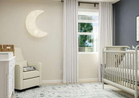 Rendering of a secondary bedroom with a   window decorated as a nursery with a crib, dresser and cream armchair.