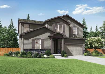 San Juan two story home front view with dark brown trim, pale brown siding, and two-car garage