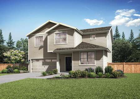 Exterior rendering of the elevation A style of the Mercer plan. Two-story brand new home
