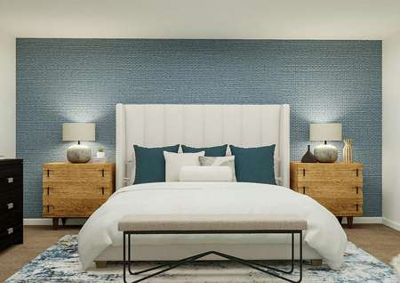Rendering of the large master suite   focused on a large bed with two nightstands on either side. A dresser is   visible on one side and the entrance to the attached bath is on the other.'