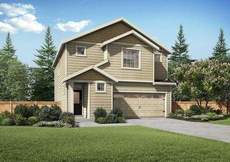 Hawthorn two-story home rendering with white trim, 2 car garage, and green landscaped front yard
