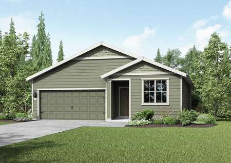 Columbia new home rendering with single living level, brown siding, and green grass