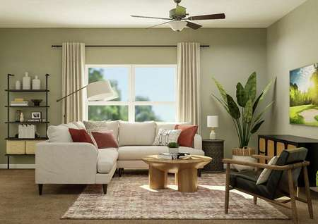 Rendering of the living room with large   window in background and sectional seating, and round coffee table.