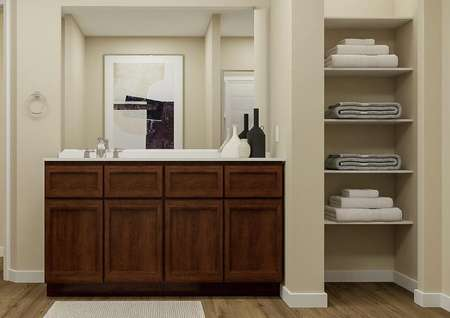 Rendering of the master bath showing the   brown cabinet vanity with mirror and linen closet.