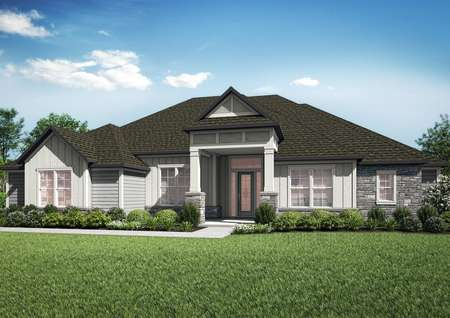 The Timberland plan is a two-story home with an incredible front entryway and stone details.