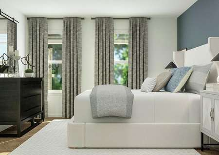 Rendering of owners bedroom with two   windows and cabinet space in front of bed.