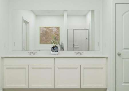 Rendering of the large double-sink vanity   in the master bath, which has white cabinetry. A shower and tub are reflected   in the mirror.