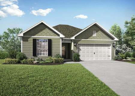Martin single story home rendering with landscape yard, white garage door, and dark colored shutters
