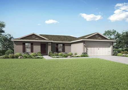 The Caladesi floor plans renderings that have a decorative two-car garage and a lush green grass front yard.