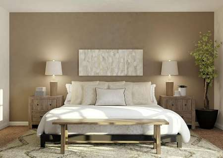 Rendering of spacious master bedroom with   brown accent wall and carpet flooring. Decorated with large bed, two   nightstands and mirror.