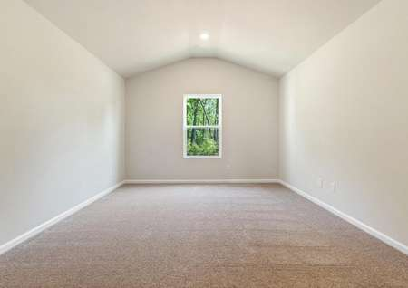 Large master bedroom with window and carpet.