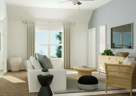 Rendering of living room with small   couch, additional seating, large window and cabinet storage with tv above.