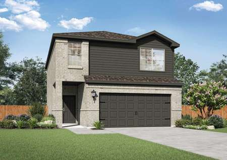 Charming two-story home with dark gray siding and light gray brick.